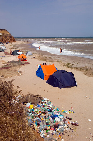 Rubbish on the beach, Vama Veche,  Black Sea coast, The Dobrogea, Romania