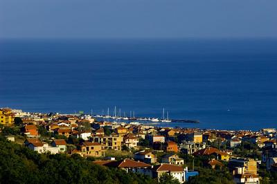 View of Sveti Vlas and coast in late afternoon,  Black Sea coast, Bulgaria