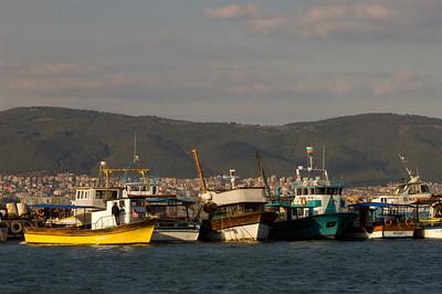 Fishing boats in the harbour, Nesebar, Black Sea coast, Bulgaria