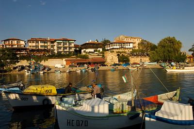 Fishing boats by Old Town, Nesebar, Black Sea coast, Bulgaria