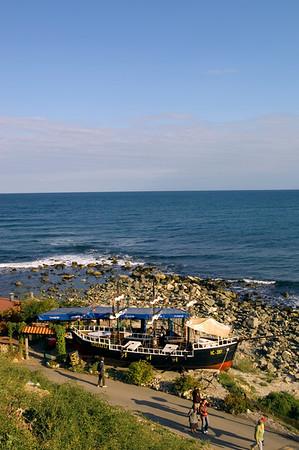 Restaurant overlooking the sea, Nesebar, Black Sea coast, Bulgaria