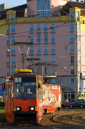 Tram passing Hotel Sobieski, Warsaw, Poland
