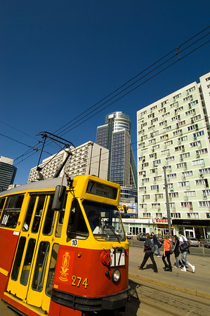 Red tram and traffic, Warsaw, Poland