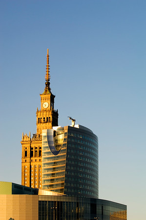 Modern and contemporary architecture at dusk, Warsaw, Poland