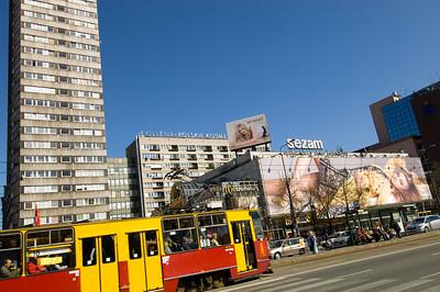 Shops and traffic on ulica Marszalkowska, Warsaw, Poland