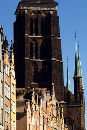 Piwna Street with Cathedral in background, Old Town, Gdansk, Poland
