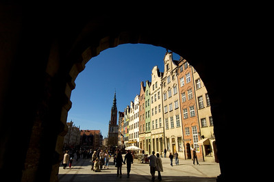 Hansa merchant town houses on Dlugi Targ ( Long Market ) seen through Green Gate, Old Town, Gdansk, Poland