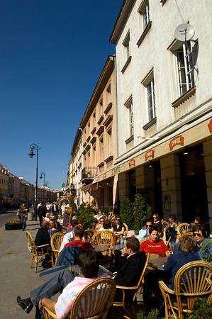 Restaurants and bars on Krakowskie Przedmiescie, Warsaw, Poland