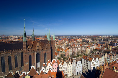 St Mary's Church and view of Old Town seen from viewing gallery of Old Town Hall clock tower,Gdansk, Poland