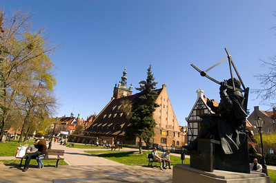 Heweliusz Statue and Great Mill, Old Town, Gdansk, Poland