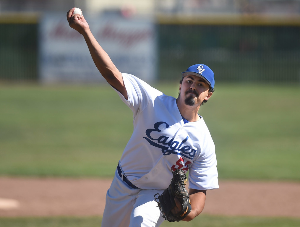 . Clayton Valley Charter\'s James Biles, (52) pitches against James Logan in the first round of the North Coast Section Division 1 Baseball Tournament in Concord, Calif., on Wednesday, May 25, 2016. Biles pitched a complete game in their 4-1 win. (Susan Tripp Pollard/Bay Area News Group)