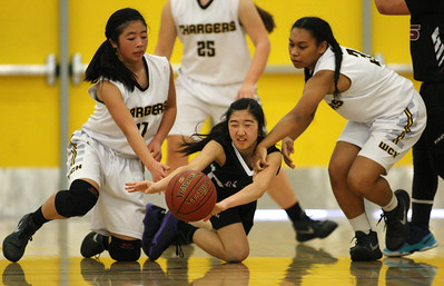 Piedmont Hills' Katie Yamashita passes between Wilcox's Kelly Nishimura, at left, and Jezarae Tillmon in the second quarter during the Central Coast Section Division I girls basketball quarterfinals at Wilcox High School in Santa Clara, Calif., on Saturday, Feb. 26, 2016. (Jim Gensheimer/Bay Area News Group)