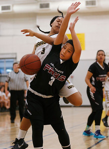 Wilcox's Jezarae Tillmon and Piedmont Hills' Deserae Velasco collide in the first quarter during the Central Coast Section Division I girls basketball quarterfinals at Wilcox High School in Santa Clara, Calif., on Saturday, Feb. 26, 2016. (Jim Gensheimer/Bay Area News Group)