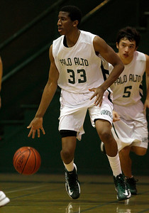 Palo Alto High School's Aubrey Dawkins (33) dribbles during their game against Cupertino High School in the third period at Palo Alto High School in Palo Alto, Calif. on Tuesday, Jan. 15, 2013.  (Nhat V. Meyer/Staff)