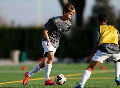 Bellarmine College Prep's Dylan Carrubba controls the ball during varsity soccer practice on the Bellarmine College Prep soccer field in San Jose, Calif., on Tuesday, Feb. 9, 2016. (Nhat V. Meyer/Bay Area News Group)