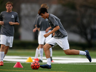 Bellarmine College Prep's Jacob Tan participates in drills during varsity soccer practice on the Bellarmine College Prep soccer field in San Jose, Calif., on Tuesday, Feb. 9, 2016. (Nhat V. Meyer/Bay Area News Group)