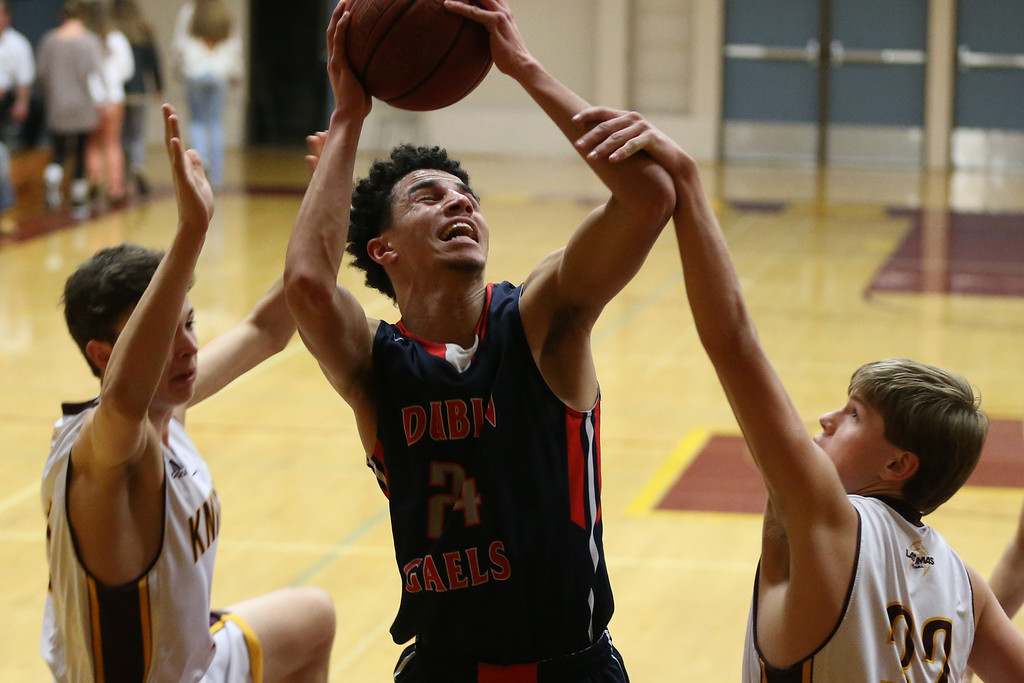 . Dublin\'s Steven Houston (24) is fouled by Las Lomas\' Blake Thorpe (32) in the first half of a Diablo Foothill Athletic League boys basketball game at Las Lomas High School in Walnut Creek, Calif., on Friday, Feb. 5, 2016. (Ray Chavez/Bay Area News Group)