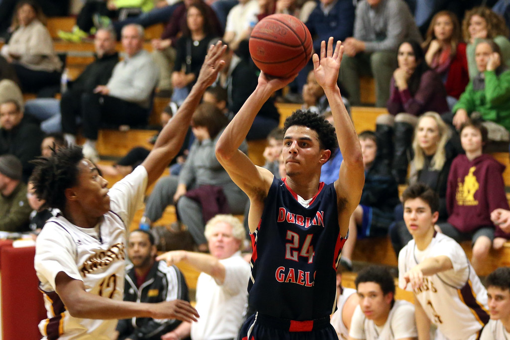 . Dublin\'s Steven Houston (24) makes a shot against Las Lomas\' Rob Prince (12) in the first half of a Diablo Foothill Athletic League boys basketball game at Las Lomas High School in Walnut Creek, Calif., on Friday, Feb. 5, 2016. Dublin won 66-47. (Ray Chavez/Bay Area News Group)