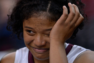Eastside College Prep's Alayah Bell (13) wipes away tears after defeating Village Christian during their CIF Division V state championship girls basketball game at Sleep Train Arena in Sacramento, Calif., on Thursday, March 24, 2016. Eastside College Prep defeated Village Christian 57-50. (Jose Carlos Fajardo/Bay Area News Group)