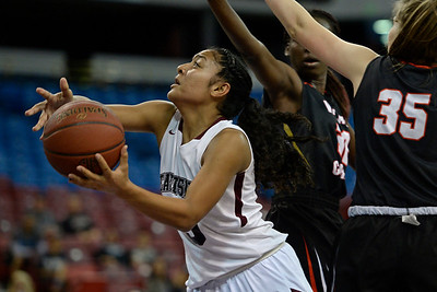 Eastside College Prep's Kayla Tahaafe (5) drives past Village Christian's Micaela Cacho-Negrete (35) in the second quarter of their CIF Division V state championship girls basketball game at Sleep Train Arena in Sacramento, Calif., on Thursday, March 24, 2016. (Jose Carlos Fajardo/Bay Area News Group)