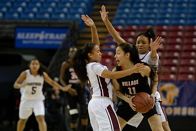 Eastside College Prep's Kayla Mahan (2) and Ra'Anaa Bey (1) guard Village Christian's Leslie Aguilar (11) in the first quarter of their CIF Division V state championship girls basketball game at Sleep Train Arena in Sacramento, Calif., on Thursday, March 24, 2016. (Jose Carlos Fajardo/Bay Area News Group)
