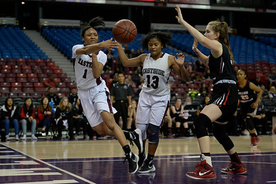 Eastside College Prep's Ra'Anna Bey (1) saves a ball from going out of bounds while playing against Village Christian in the second quarter of their CIF Division V state championship girls basketball game at Sleep Train Arena in Sacramento, Calif., on Thursday, March 24, 2016. (Jose Carlos Fajardo/Bay Area News Group)