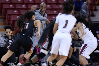 Eastside College Prep head coach Donvan Blythe gestures while coaching his players against Village Christian in the second quarter of their CIF Division V state championship girls basketball game at Sleep Train Arena in Sacramento, Calif., on Thursday, March 24, 2016. (Jose Carlos Fajardo/Bay Area News Group)