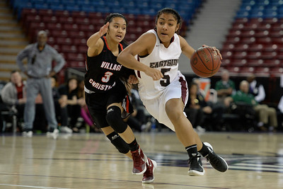 Eastside College Prep's Kayla Tahaafe (5) drives past Village Christian's Peyton Ruiz (3) in the first quarter of their CIF Division V state championship girls basketball game at Sleep Train Arena in Sacramento, Calif., on Thursday, March 24, 2016. (Jose Carlos Fajardo/Bay Area News Group)