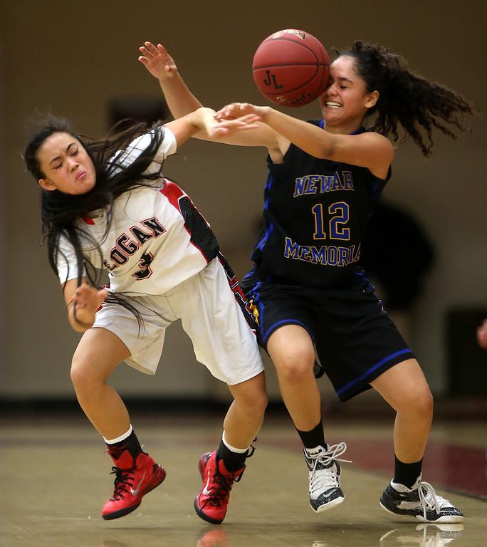 . James Logan High School\'s Catherine De Leon (3) battles Newark Memorial High School\'s Maricela Matos (12) for the ball during their game on Tuesday, Feb. 16, 2016 in Union City, Calif.  Logan defeated Newark 69-60.    (Aric Crabb/Bay Area News Group)