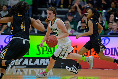 Miramonte's Sabrina Ionescu (20) drives the ball past Bishop O'Dowd's Jada Holland (4) during the fourth period of their North Coast Section Division 3 girls basketball championship game at McKeon Pavilion in Moraga, Calif., on Saturday, March 5, 2016.(Jose Carlos Fajardo/Bay Area News Group)