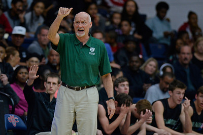 Miramonte head coach Drew McDonald signals his players while playing against Moreau Catholic during the second period of their North Coast Section Division 3 boys basketball championship game at McKeon Pavilion in Moraga, Calif., on Saturday, March 5, 2016. (Jose Carlos Fajardo/Bay Area News Group)