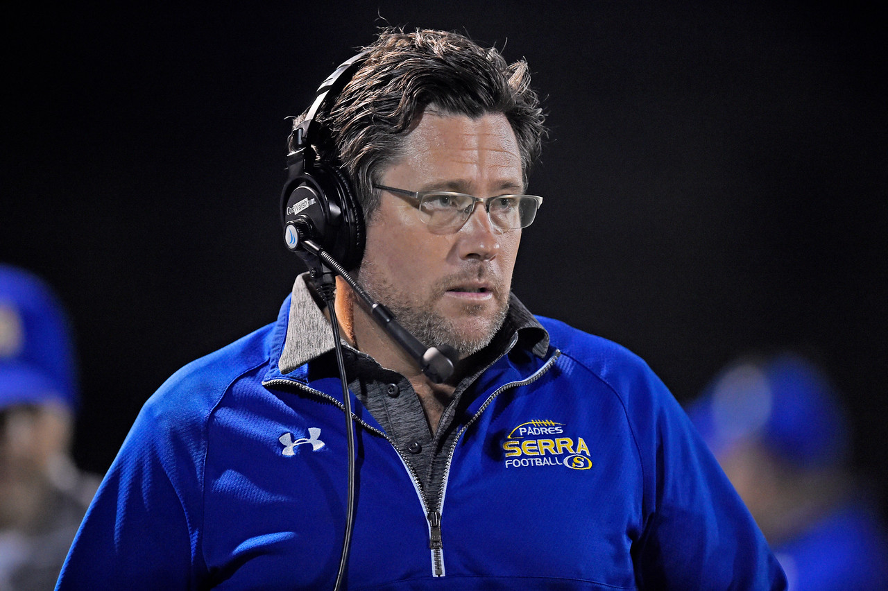 Serra head coach Patrick Walsh walks the sidelines while playing against De La Salle in the second quarter of their game at De La Salle High School in Concord, Calif., on Friday, Sept. 2, 2016. (Jose Carlos Fajardo/Bay Area News Group)