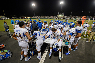 Serra players huddle on the sideline while playing against De La Salle in the second quarter of their game at De La Salle High School in Concord, Calif., on Friday, Sept. 2, 2016. (Jose Carlos Fajardo/Bay Area News Group)