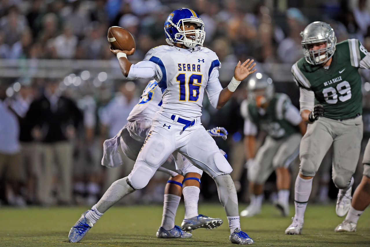 Serra quarterback Leki Nunn (16) looks to pass against De La Salle in the first quarter of their game at De La Salle High School in Concord, Calif., on Friday, Sept. 2, 2016. (Jose Carlos Fajardo/Bay Area News Group)