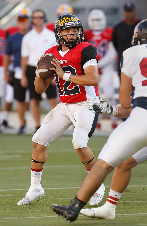 . South quarterback Matty Adamkiewicz passes against the North in the first quarter during the Charlie Wedemeyer high school all-star football game at Levi\'s Stadium in Santa Clara, Calif., on Saturday, July 16, 2016. (Jim Gensheimer/Bay Area News Group)