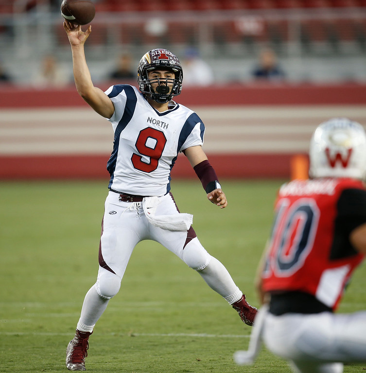 . North quarterback Marcus Romero passes against the South in the fourth quarter during the Charlie Wedemeyer high school all-star football game at Levi\'s Stadium in Santa Clara, Calif., on Saturday, July 16, 2016. (Jim Gensheimer/Bay Area News Group)