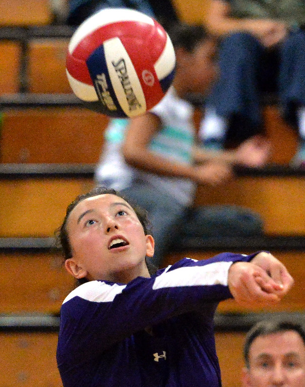 . Amador Valley High\'s Jane Burgan (10) passes the ball during their non-conference game against Castro Valley High in Pleasanton, Calif., on Wednesday, Aug. 31, 2016. Castro Valley High went on to win the match in three straight sets. (Doug Duran/Bay Area News Group)