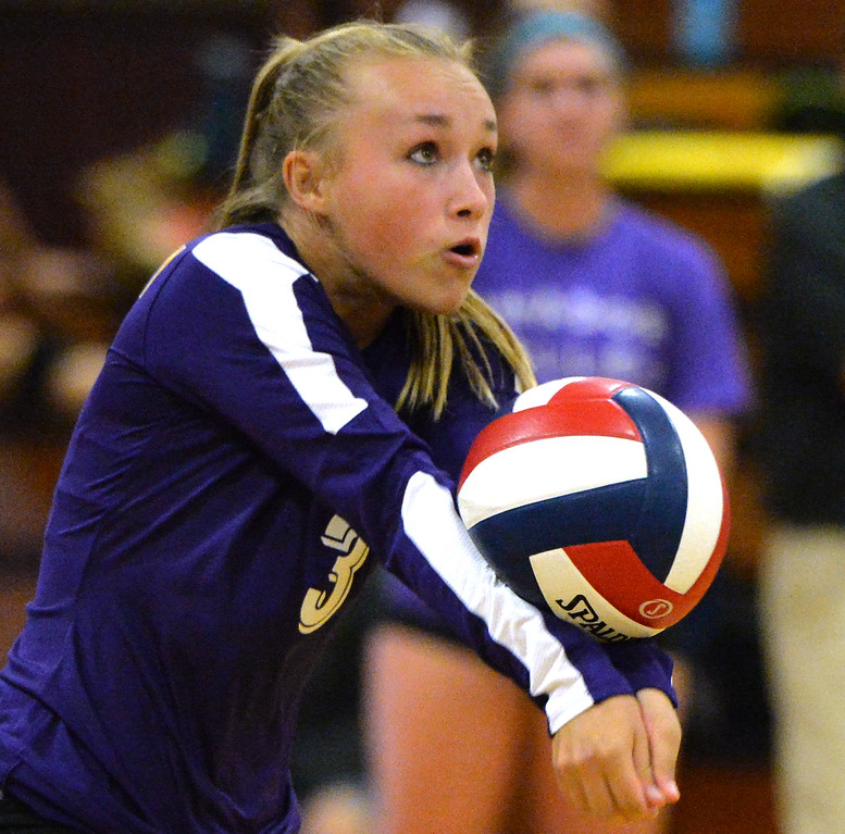 . Amador Valley High\'s Elena Webster (3) passes the ball during their non-conference game against Castro Valley High in Pleasanton, Calif., on Wednesday, Aug. 31, 2016. Castro Valley High went on to win the match in three straight sets. (Doug Duran/Bay Area News Group)