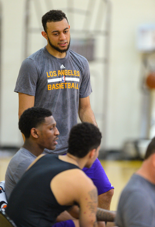 . Nigel Williams-Goss of Gonzaga relaxes after working out for the Lakers in El Segundo on Monday, May 22, 2017. The Lakers brought in several players to evaluate for their 28th pick in the first round of the upcoming NBA draft. (Photo by Scott Varley, Daily Breeze/SCNG)