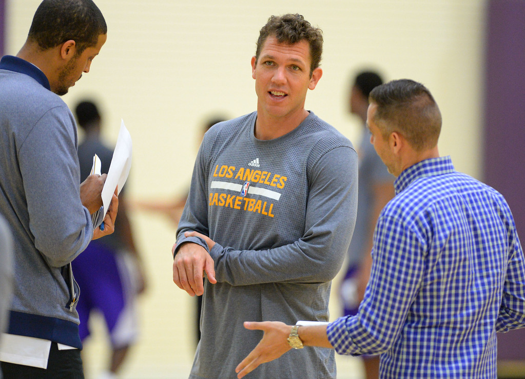 . Lakers head coach Luke Walton following a workout for draft prospects in El Segundo on Monday, May 22, 2017. The Lakers brought in several players to evaluate for their 28th pick in the first round of the upcoming NBA draft. (Photo by Scott Varley, Daily Breeze/SCNG)