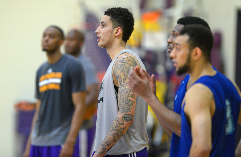 . Kyle Kuzma of Utah joins other draft prospects for a worksout for the Lakers in El Segundo on Monday, May 22, 2017. The Lakers brought in several players to evaluate for their 28th pick in the first round of the upcoming NBA draft. (Photo by Scott Varley, Daily Breeze/SCNG)