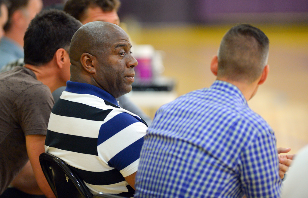 . Magic Johnson, president of basketball operations for the Los Angeles Lakers, watches potential draft picks work out for the Lakers in El Segundo on Monday, May 22, 2017. The Lakers brought in several players to evaluate for their 28th pick in the first round of the upcoming NBA draft. (Photo by Scott Varley, Daily Breeze/SCNG)