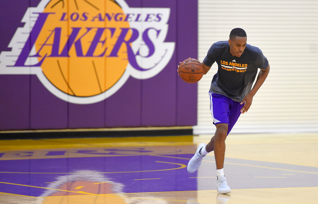 . V.J. Beachem of Notre Dame works out for the Lakers in El Segundo on Monday, May 22, 2017. The Lakers brought in several players to evaluate for their 28th pick in the first round of the upcoming NBA draft. (Photo by Scott Varley, Daily Breeze/SCNG)
