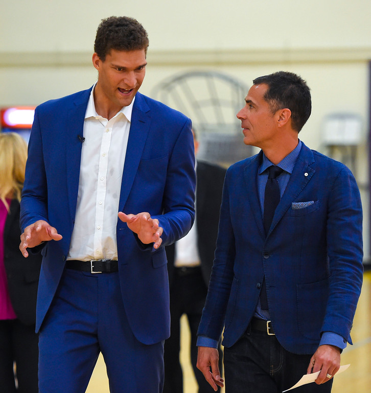 . Lakers new center, Brook Lopez, left, and General Manager Rob Pelinka walk to Lopez� introductory press conference in El Segundo on Wednesday, June 28, 2017. The Lakers acquired Lopez and forward Kyle Kuzma from the Brooklyn Nets in exchange for Timofey Mozgov and D�Angelo Russell. (Photo by Scott Varley, Daily Breeze/SCNG)