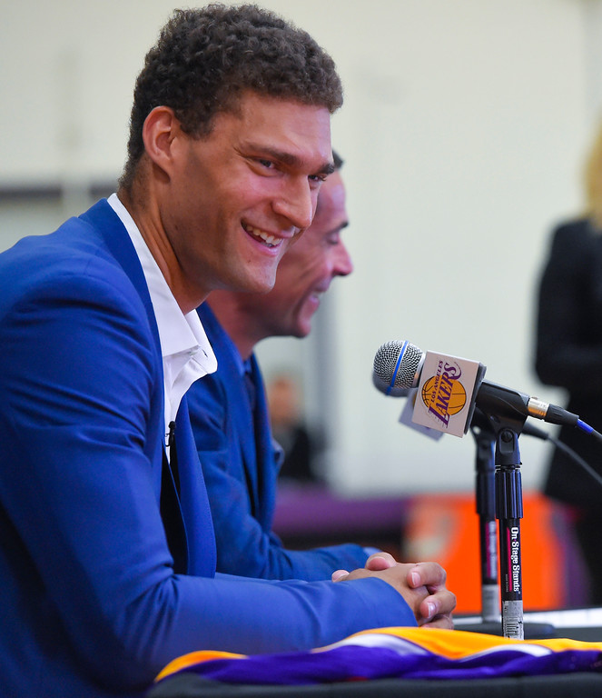 . Lakers new center, Brook Lopez, takes questions after his introduction in El Segundo on Wednesday, June 28, 2017. The Lakers acquired Lopez and forward Kyle Kuzma from the Brooklyn Nets in exchange for Timofey Mozgov and D�Angelo Russell. (Photo by Scott Varley, Daily Breeze/SCNG)