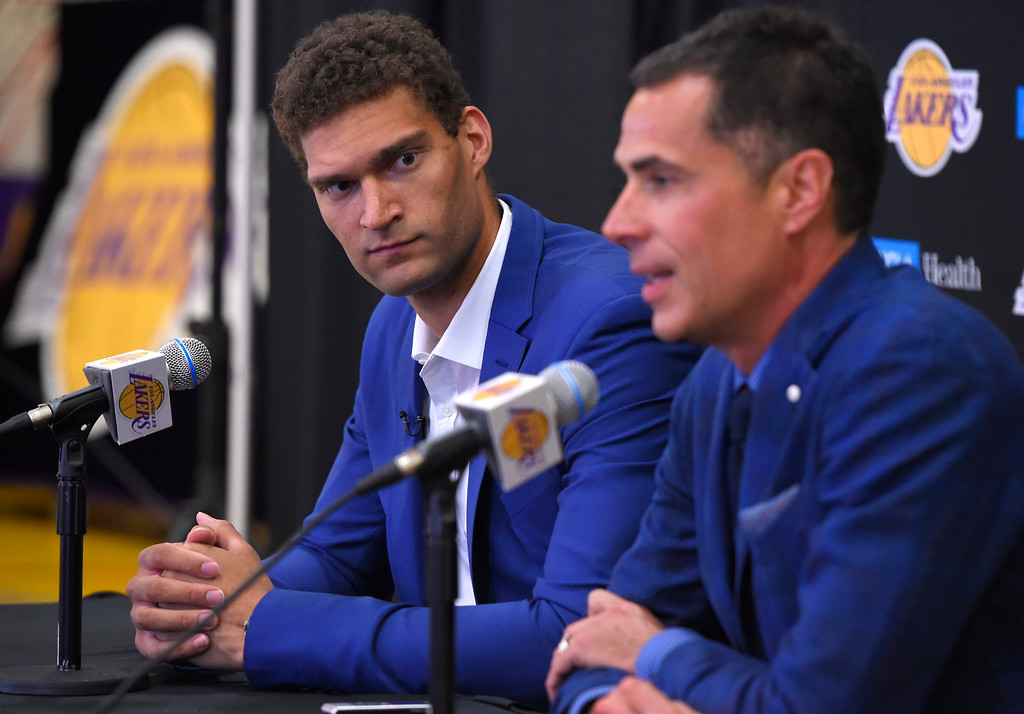 . Rob Pelinka, general manager for the Lakers, right, introduces new center Brook Lopez in El Segundo on Wednesday, June 28, 2017. The Lakers acquired Lopez and forward Kyle Kuzma from the Brooklyn Nets in exchange for Timofey Mozgov and D�Angelo Russell. (Photo by Scott Varley, Daily Breeze/SCNG)