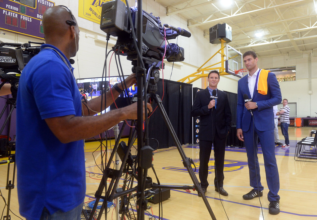 . Lakers new center Brook Lopez, right, chats with Spectrum SportsNet�s Mike Bresnahan for an interview in El Segundo on Wednesday, June 28, 2017. The Lakers acquired Lopez and forward Kyle Kuzma from the Brooklyn Nets in exchange for Timofey Mozgov and D�Angelo Russell. (Photo by Scott Varley, Daily Breeze/SCNG)