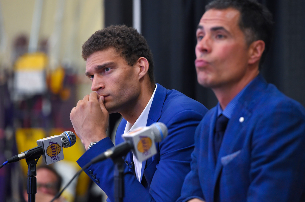 . Lakers new center, Brook Lopez, left, and General Manager Rob Pelinka take questions after Lopez� introduction in El Segundo on Wednesday, June 28, 2017. The Lakers acquired Lopez and forward Kyle Kuzma from the Brooklyn Nets in exchange for Timofey Mozgov and D�Angelo Russell. (Photo by Scott Varley, Daily Breeze/SCNG)