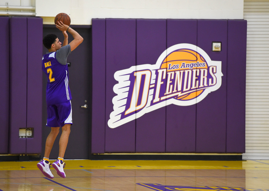 . Lakers #2 draft pick Lonzo Ball spends a few minutes after practice to work on his perimeter shooing in El Segundo on Wednesday, July 5, 2017. The newest Lakers players are getting ready for Summer League games starting Friday in Las Vegas. (Photo by Scott Varley, Daily Breeze/SCNG)