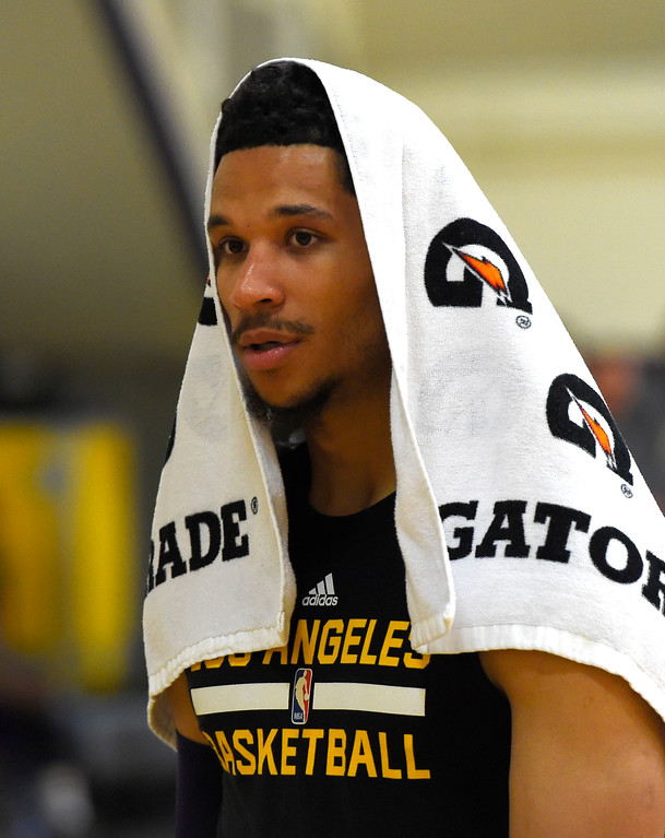 . Lakers #30 draft pick Josh Hart relaxes after practice in El Segundo on Wednesday, July 5, 2017. The newest Lakers players are getting ready for Summer League games starting Friday in Las Vegas. (Photo by Scott Varley, Daily Breeze/SCNG)